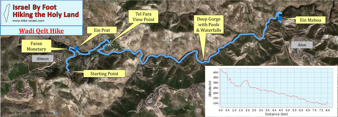 Wadi Qelt Group hike map