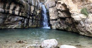 the hidden waterfall in arugot stream