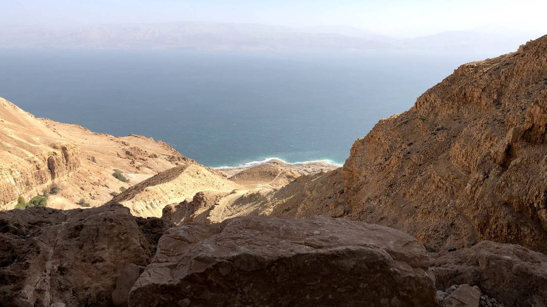 View of the dead sea from the ein gedi ascend