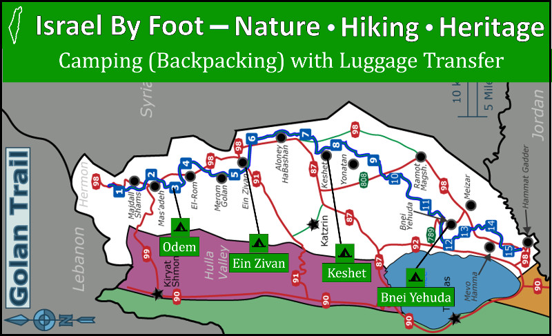 Camping map on the Golan Trail