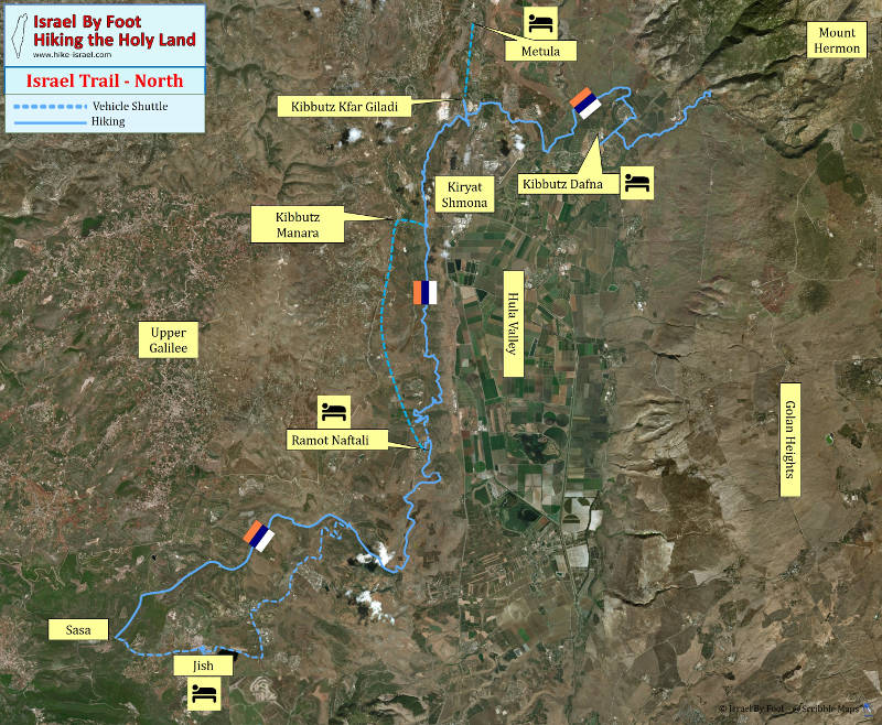 Israel National Trail - North section Inn to Inn Trek - Overview map