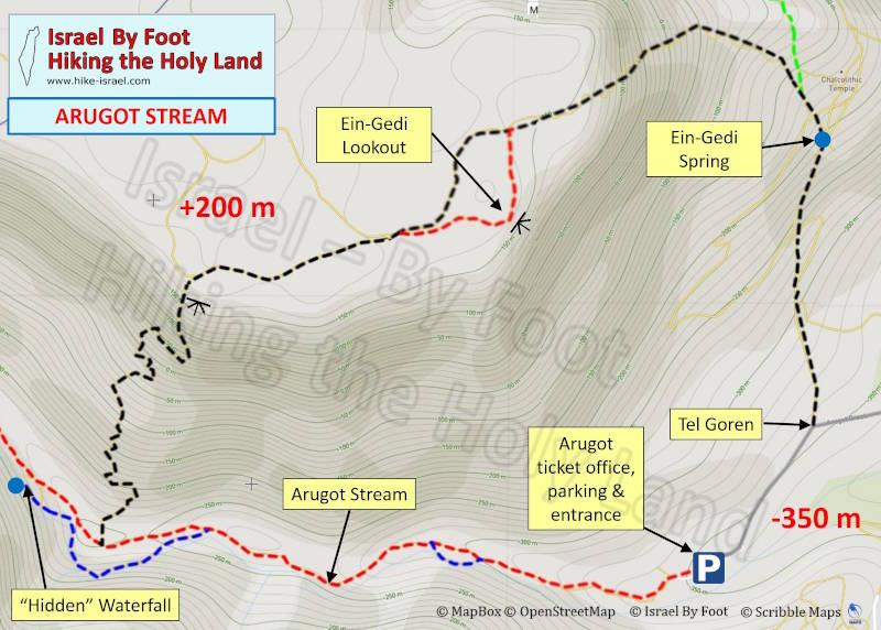 Arugot stream hiking map (Ein-Gedi Israel)