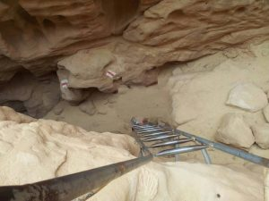 typical ladder in the arches hike in timna park
