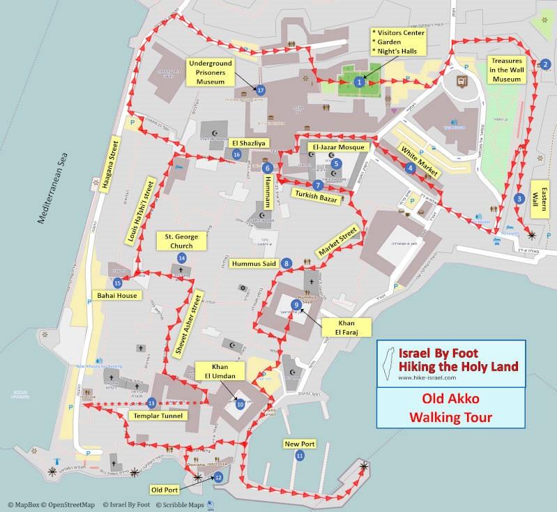 Self-Guided Walking Tour Map of Akko