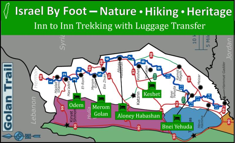 Golan Trail Inn to Inn Trek Map